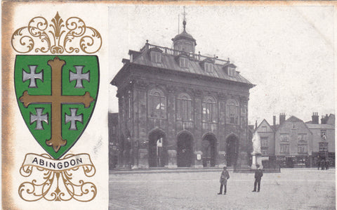 Old postcard of Abingdon, heraldic series with coat of arms