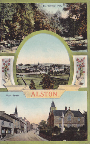 Old postcard showing several images of Alston