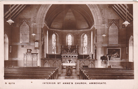 Old real photo postcard of Interior of St Anne's Church, Ambergate in Derbyshire