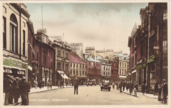 Old postcard of High Street, Arbroath in Angus, Scotland