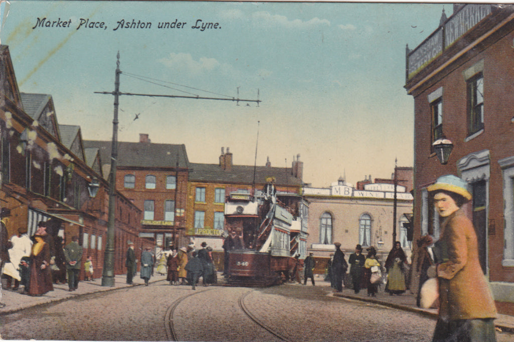 Old postcard of the Market Place, Ashton under Lyne