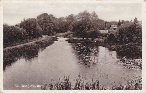Old postcard of The Canal, Ash Vale, in Surrey