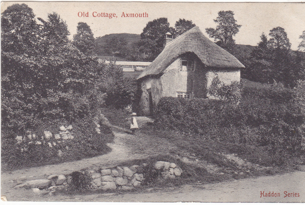 Old postcard of a cottage at Axmouth, Devon