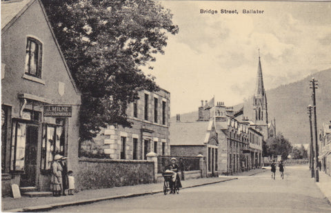 Old postcard of Bridge Street, Ballater, Aberdeenshire, Scotland