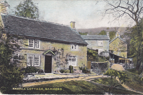 Old postcard of Knowle Cottage, Bamford in Derbyshire