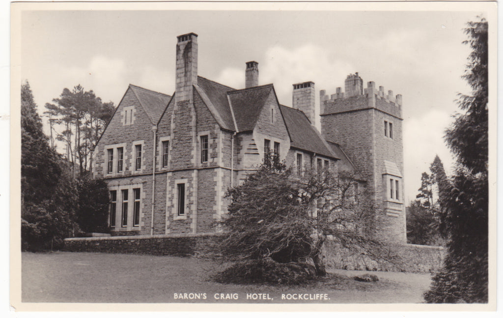Real photo postcard of Baron's Craig Hotel, Rockcliffe, Dumfries and Galloway