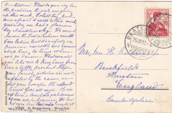 ST BEATENBERG - BIRRENFLUH - 1912 SWITZERLAND POSTCARD (ref 2948/14)