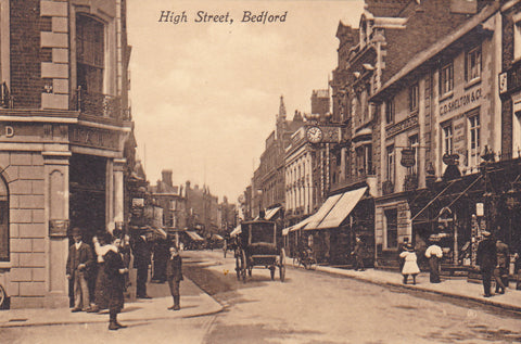 Old postcard of High Street, Bedford