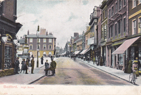 Old postcard of Bedford High Street