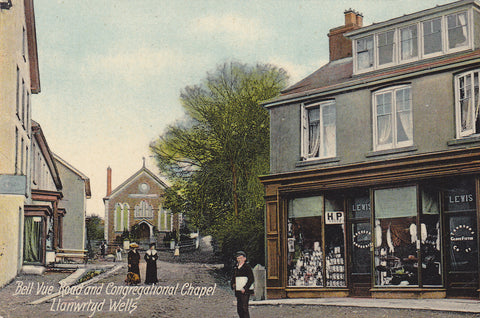 Old postcard of Bell Vue Road & Congregational Chapel, Llanwrtyd Wells