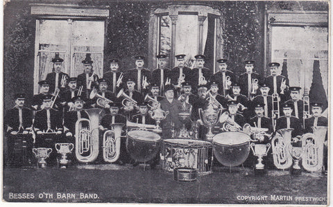 Old postcard of Besses O'th Barn Band, Prestwich Manchester