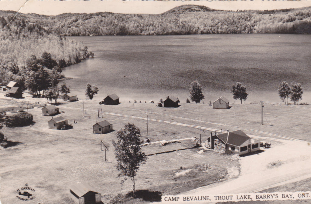 Real photo postcard of Camp Bevaline, Trout Lake, Barry's Bay, Ontario