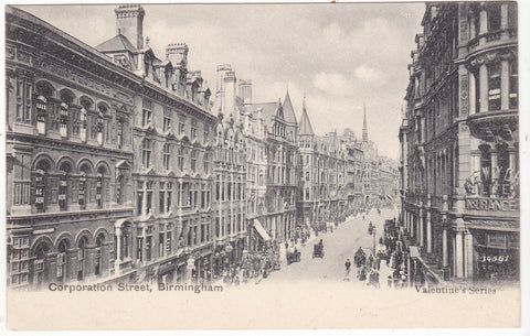 Old postcard of Corporation Street, Birmingham