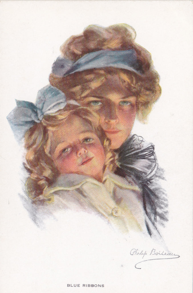 Art postcard by Philip Boileau, Blue Ribbons