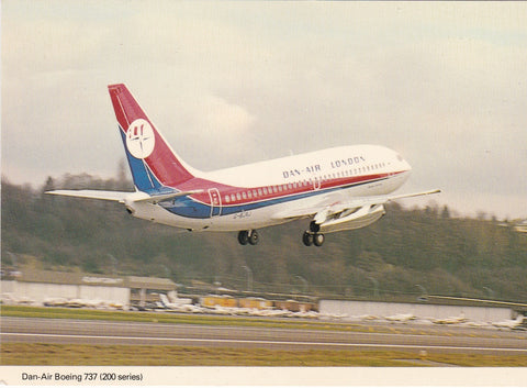 Dan-Air Boeing 737 (200 Series) aviation postcard
