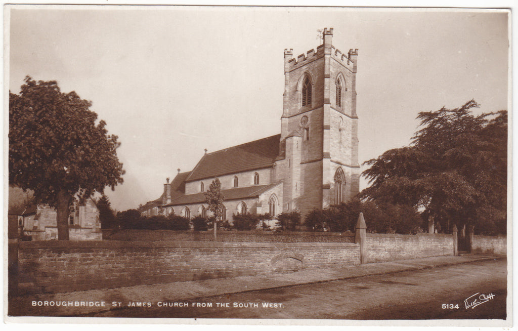 Old postcard of St James Church, Boroughbridge, from South West
