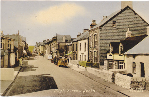 High Street, Borth in Cardiganshire c1960s postcard