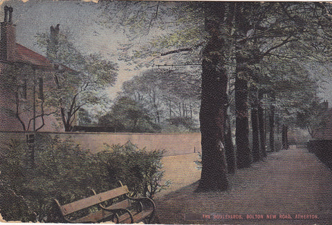 Old postcard of The Boulevards, Bolton New Road, Ashton in Lancashire