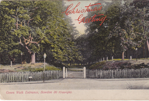 Pre 1918 Christmas Greeting postcard showing Green Walk Entrance, Bowdon
