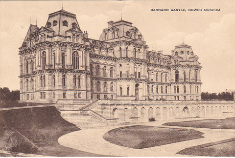 Old postcard of the Bowes Museum, Barnard Castle
