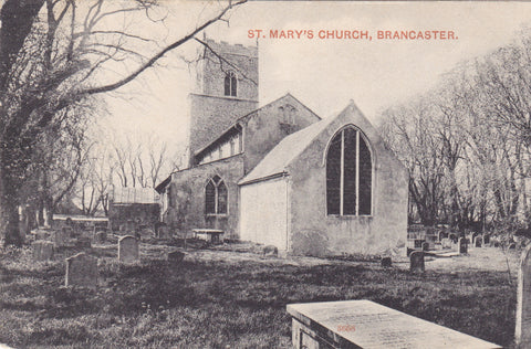 ST MARY'S CHURCH, BRANCASTER - OLD NORFOLK POSTCARD (ref 1532/18)