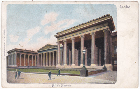 Old postcard of British Museum, London