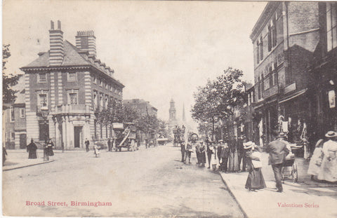 Old postcard of Broad Street, Birmingham