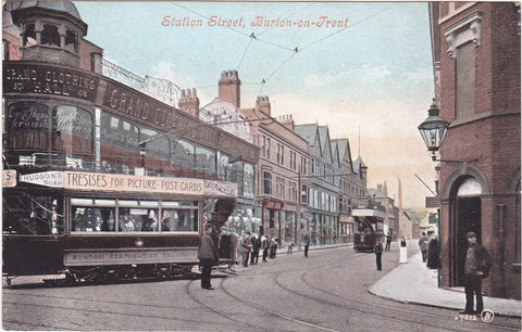 Old postcard of Station Street, Burton-on-Trent, Staffordshire