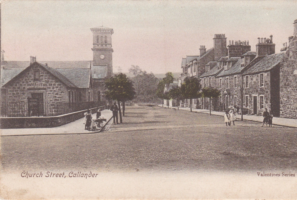 Old postcard of Church Street, Callander in Perthshire