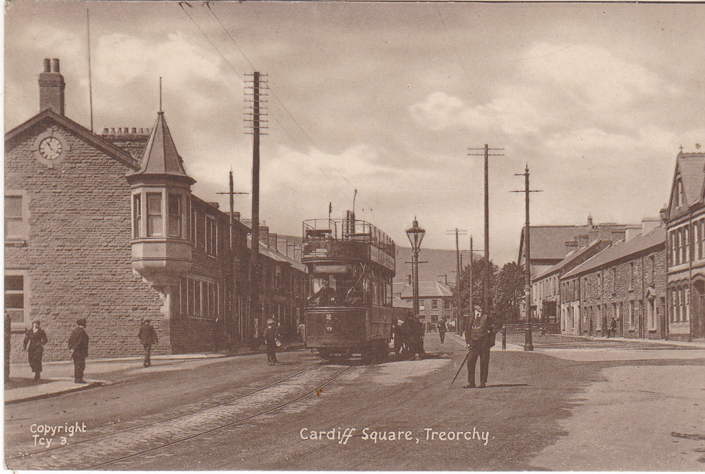 Old postcard of Cardiff Square, Treorchy with tram