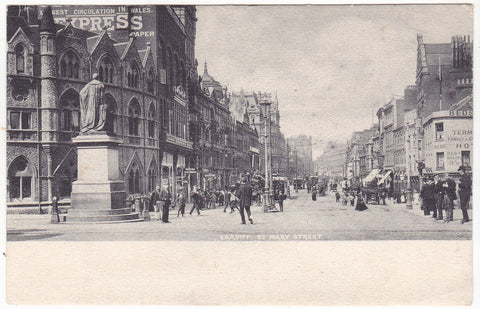 Old postcard of St Mary Street, Cardiff, posted 1903