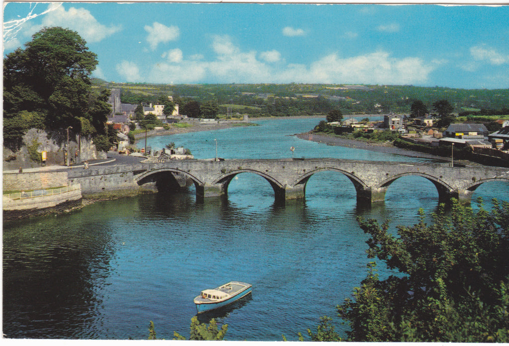 Bridge and River Teifi, Cardigan - old postcard