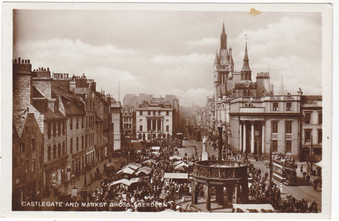 Old real photo postcard of Castlegate & Market Cross, Aberdeen