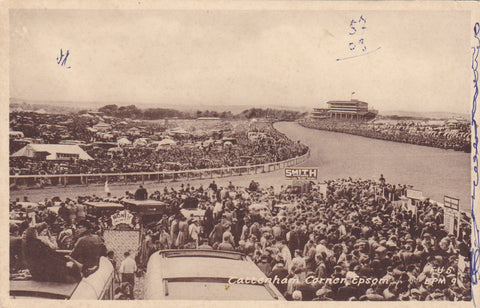 Old postcard of Tattenham Corner, Epsom