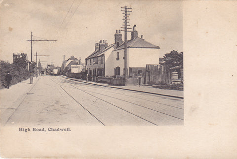 Old postcard of High Road, Chadwell in Essex