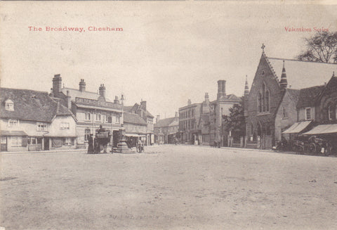 Old postcard of The Broadway, Chesham in Buckinghamshire