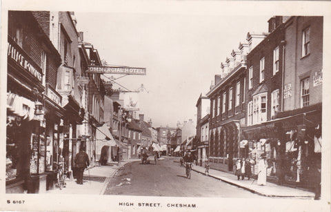 Old real photo postcard of High Street, Chesham
