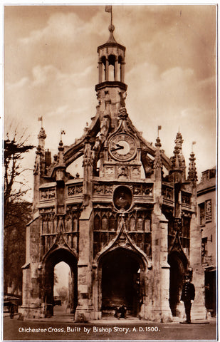 Old real photo postcard of Chichester Cross