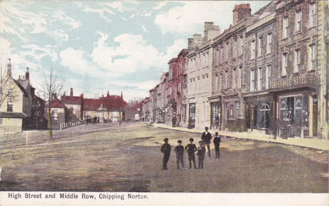 Old postcard of High Street & Middle Row, Chipping Norton in Oxfordshire