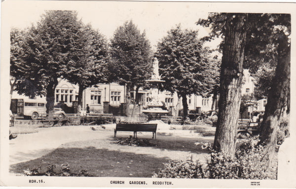 Real photo postcard of Church Gardens, Redditch