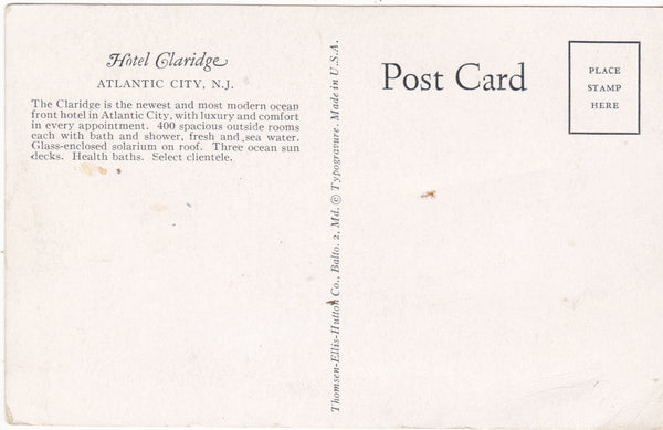 HOTEL CLARIDGE, ATLANTIC CITY, N.J. (ref 4215)