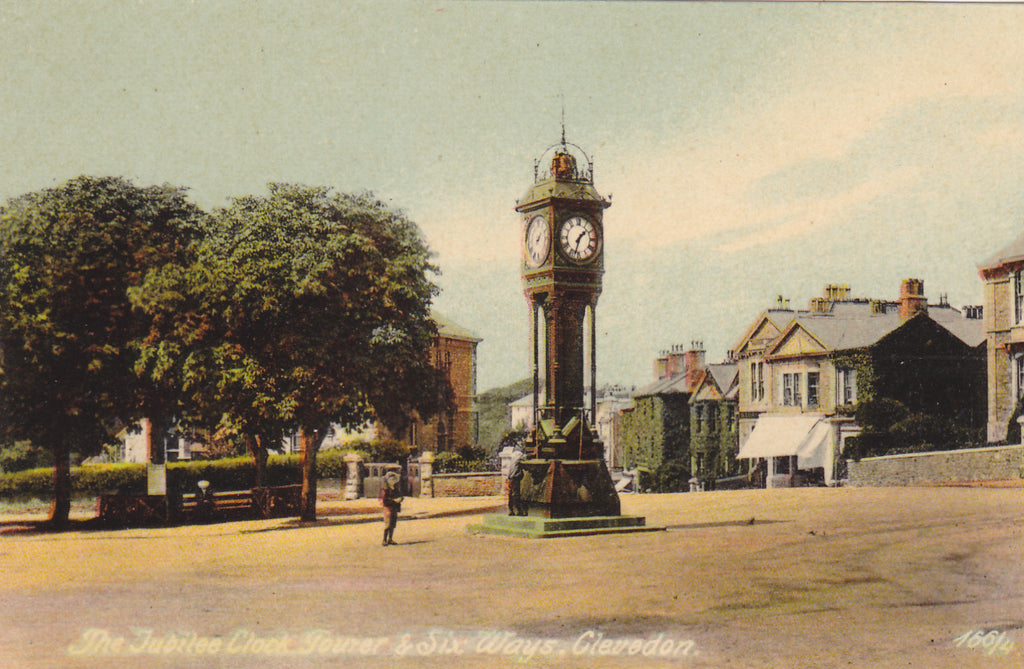 Old postcard of Jubilee Clock Tower and Six Ways, Clevedon in Somerset