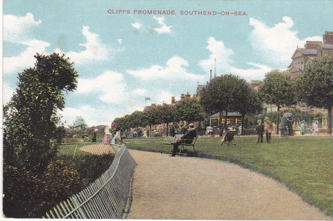 Old postcard of Cliffs Promenade, Southend on Sea