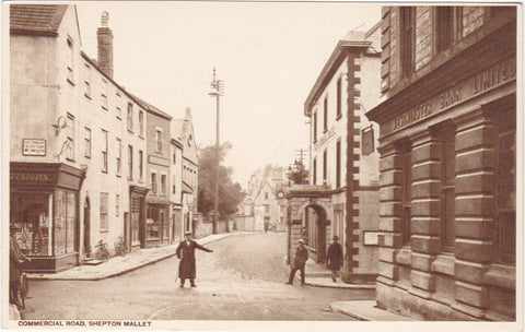 Old postcard of Commercial Road, Shepton Mallet