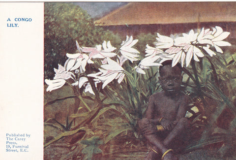 ld postcard entitled A Congo Lily - with African child