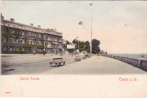 Undivided back postcard of Marine Parade, Cowes, Isle of Wight, c1902
