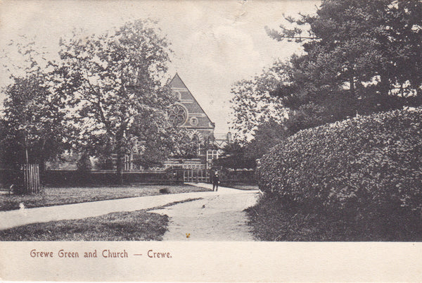 CREWE GREEN AND CHURCH, CREWE - 1906 POSTCARD (ref 059/16)
