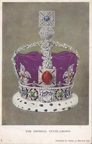 Old postcard of The Imperial State Crown