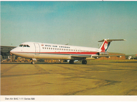 DAN-AIR BAC 1-11 SERIES 500 - MODERN SIZE AVIATION POSTCARD (ref 4648/18)