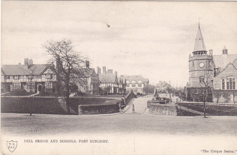 Old postcard of Dell Bridge and Schools, Port Sunlight in Wirral